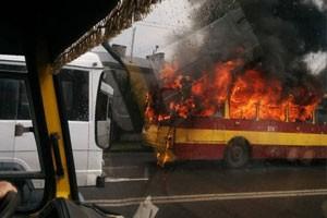Горящий троллейбус во Львове